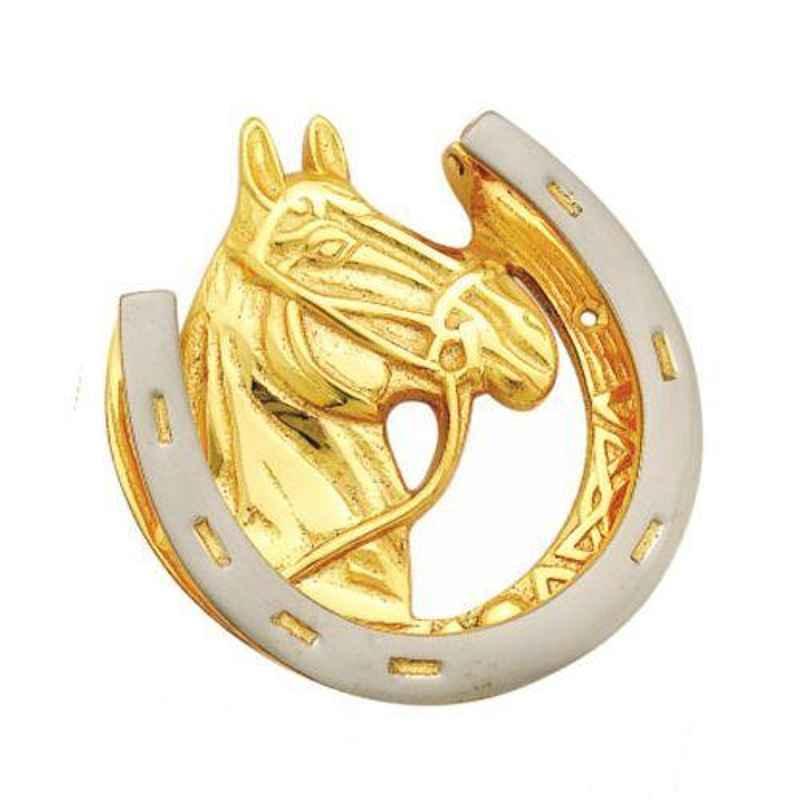 Smart Shophar 5 inch Brass Gold Silver Horse Door Knocker, SHA10DK-HORS-GS05-P1