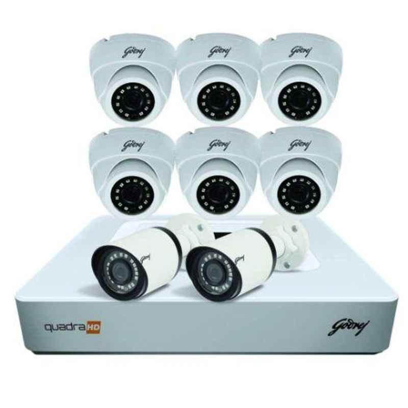 Godrej SeeThru 8 Channel Full HD White CCTV Camera Kit with 1TB Hard Disk, 4MP8CH6D2B1TBHD