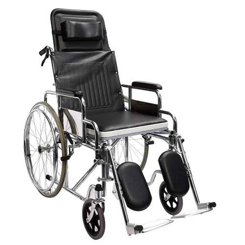 TRM Chromed Steel Foldable Recliner Wheelchair with Soft Commode Seat, TR609GC-46/3008
