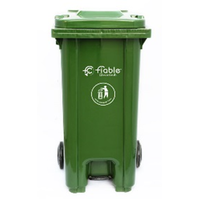Fiable 240L HDPE Green Center Pedal Dustbin with Lid & 2 Wheels, FDB 240 CP
