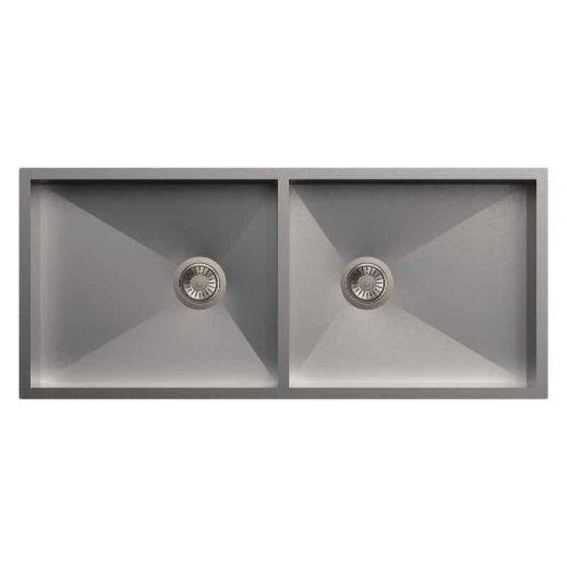 Carysil Quadro Double Bowl Stainless Steel Matt Finish Kitchen Sink, Size: 40x20x8 inch