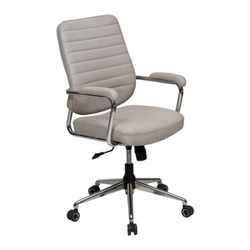 Evok Clay Leather Grey Mid Back Executive Chair, FFOFOCMNMTGY69449D