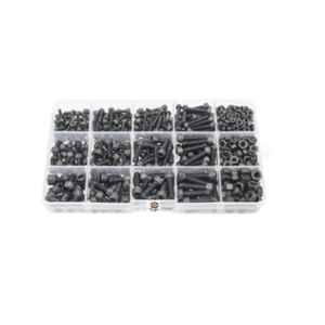 GSK Cut 280 Pcs Alloy Steel Black M3, M4 & M5 Hex Socket Head Allen Bolt Set