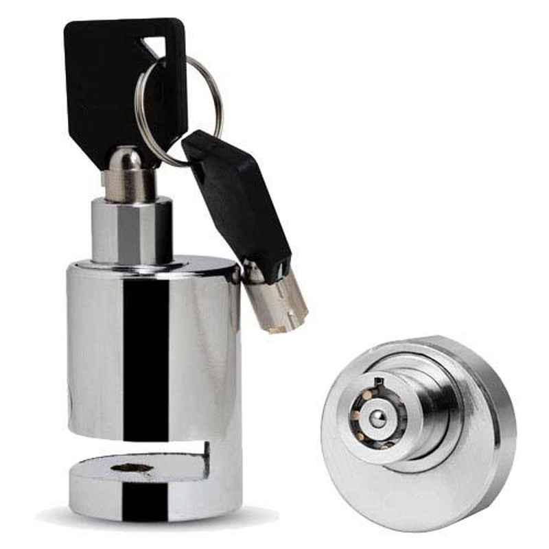 AllExtreme EXHDBL1 Chrome 7mm Pin Stainless Steel Anti Theft Disc Brake Security Lock
