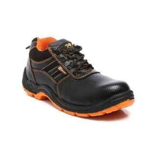 Agarson Passion Steel Toe Black & Orange Safety Shoes, Size: 6