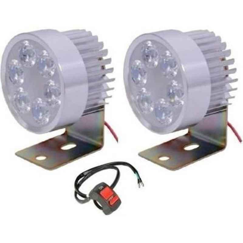 JBRIDERZBike 6 Led 2 Pcs Set With Switch Fog Light For Suzuki Gsx S1000 (Silver)