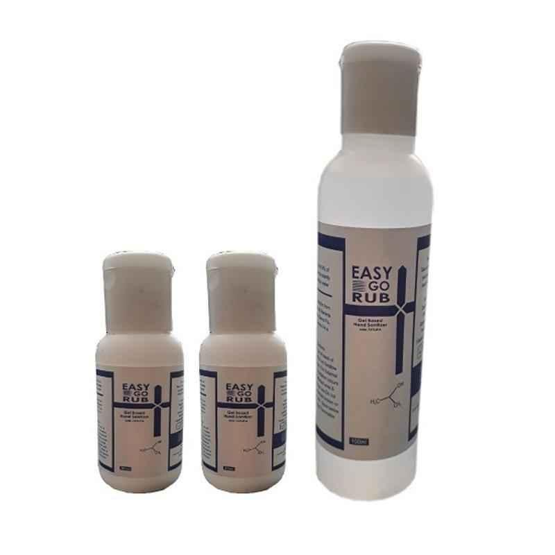 Easy Go Rub 75% Isopropyl Alcohol 2x30ml & 100ml Gel Based Hand Sanitizer Combo