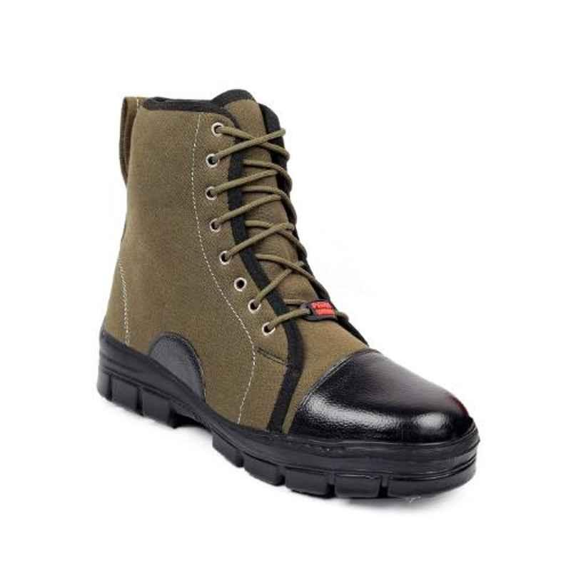 Woakers Synthetic Leather Steel Toe Airmix Sole Khaki Safety Boots, Size: 10