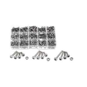 GSK Cut 280 Pcs Stainless Steel Allen M3, M4 & M5 Hex Socket Head Cap Screw & Nut Set
