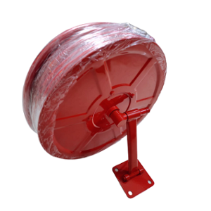 The Fire Company Compact Mild Steel Red Hose Reel Drum with 30m Thermoplastic Hose Pipe & Shutoff Nozzle