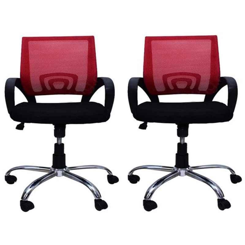 Regent Voom Net & Metal Black Red Chair with Modle Handle (Pack of 2)