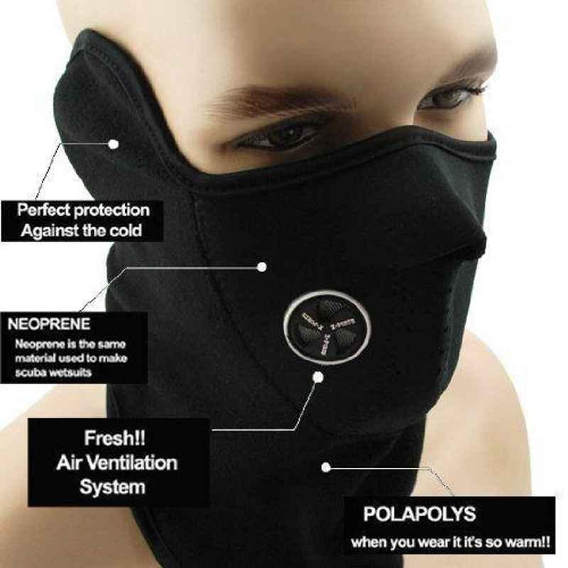 Love4ride Black Neoprene Anti Pollution Bike Face Mask with Neck Warmer
