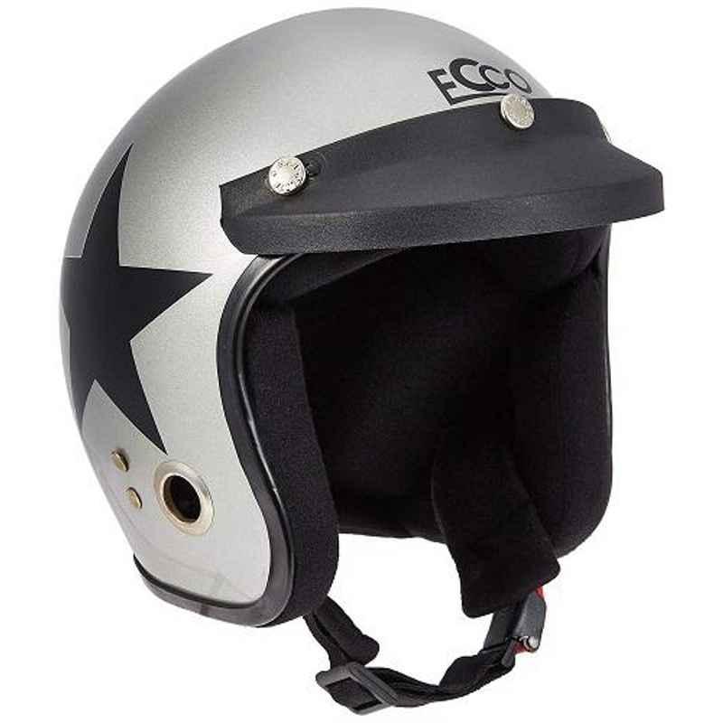 Habsolite HB-ESGB Ecco Star Open Face Grey & Black Helmet With Detachable Cap & Adjustable Strap, Size: Medium