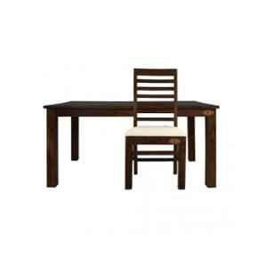 Angel Furniture Rosewood Glossy Finish Dark Brown Rectangular Dining Table with 4 Pcs Chair Set, AF-155W