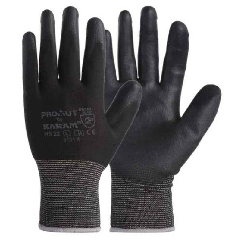 Karam Prokut Large Black Safety Gloves with PU Coating & White Liner, HS-22