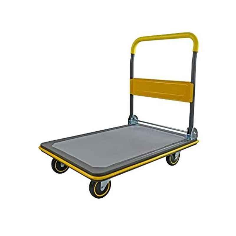 Bigapple 150kg Yellow Mild Steel Single Platform Trolley, TRL-SPH-MT-150-YELLOW