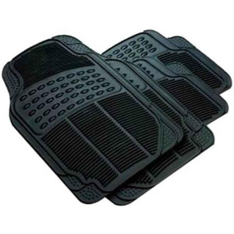 Love4ride 4 Pcs Black Rubber Car Floor Mat Set for Mahindra Bolero