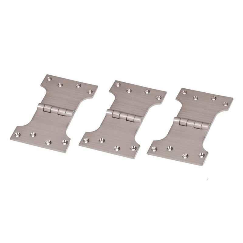 Smart Shophar 4x3x3 inch Brass Nickel Silver Parliament Hinge, SHA10HG-PARL-NS4X3X3-P3 (Pack of 3)