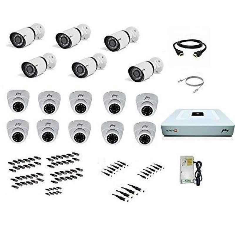 Godrej SeeThru 1080p Full HD White CCTV Camera Kit without Hard Disk, Godrej2MP10DOME6BULLET