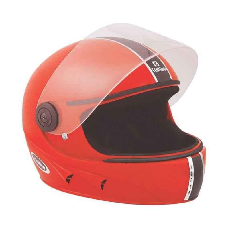 Stallion BLK Vento Full Face Red Motorbike Helmet, Size: M