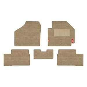 Elegant Popcorn 5 Pcs Polypropylene & Non Woven Beige 2D Car Floor Mat Set for Hyundai Creta 2018 Onwards