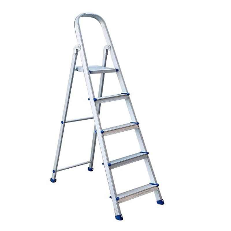 TNC Blue 5 Steps Aluminium Adjustable Ladder with Platform