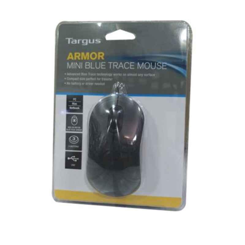 Targus 80g Black 6.3x3.8cm Armormini Blue Trace Wired mouse, AMU09701AP