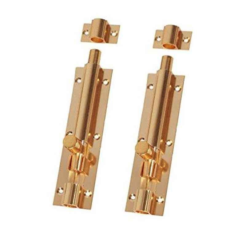 Smart Shophar 8 inch Brass Gold Plain Tower Bolt, SHA10TW-PLAN-GL08-P2 (Pack of 2)