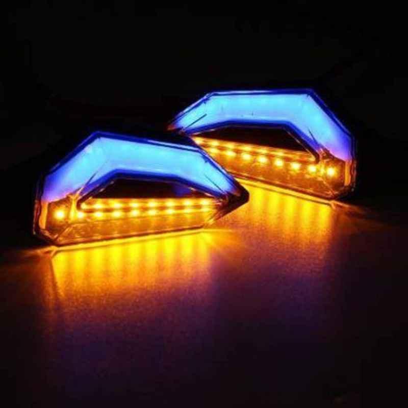 A4S 12V Blue & Orange D Shaped Side Indicator Light DRL LED for All Bikes, ASTL106 (Pack of 2)