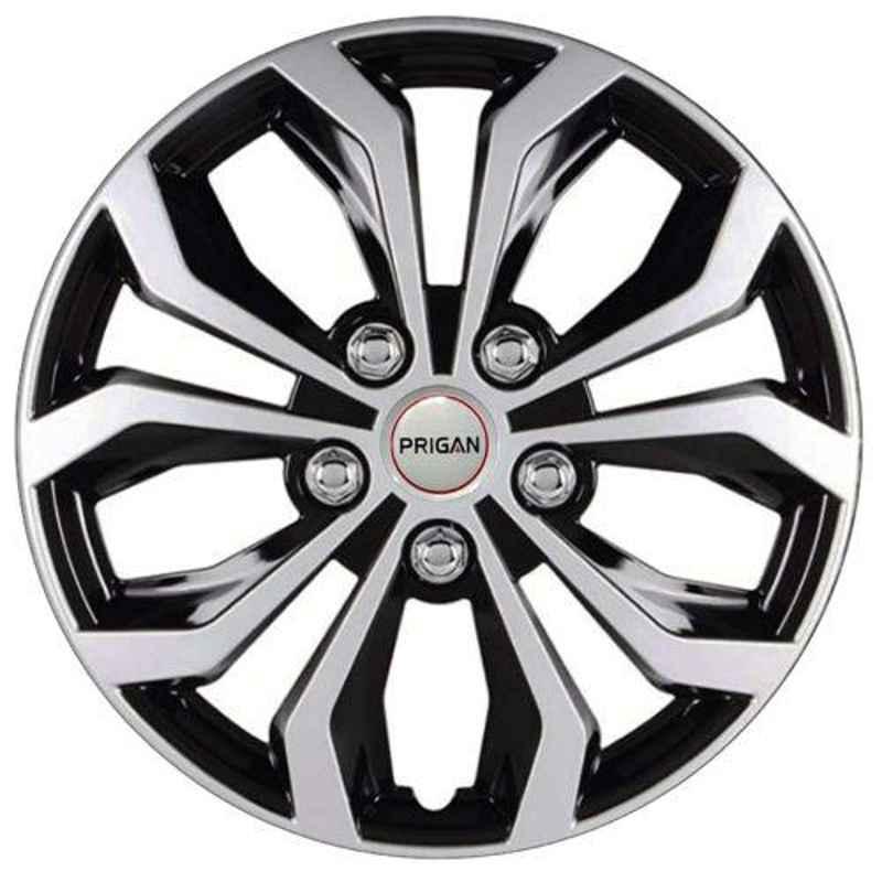 Prigan 4 Pcs 13 inch Silver Universal Wheel Cover Set