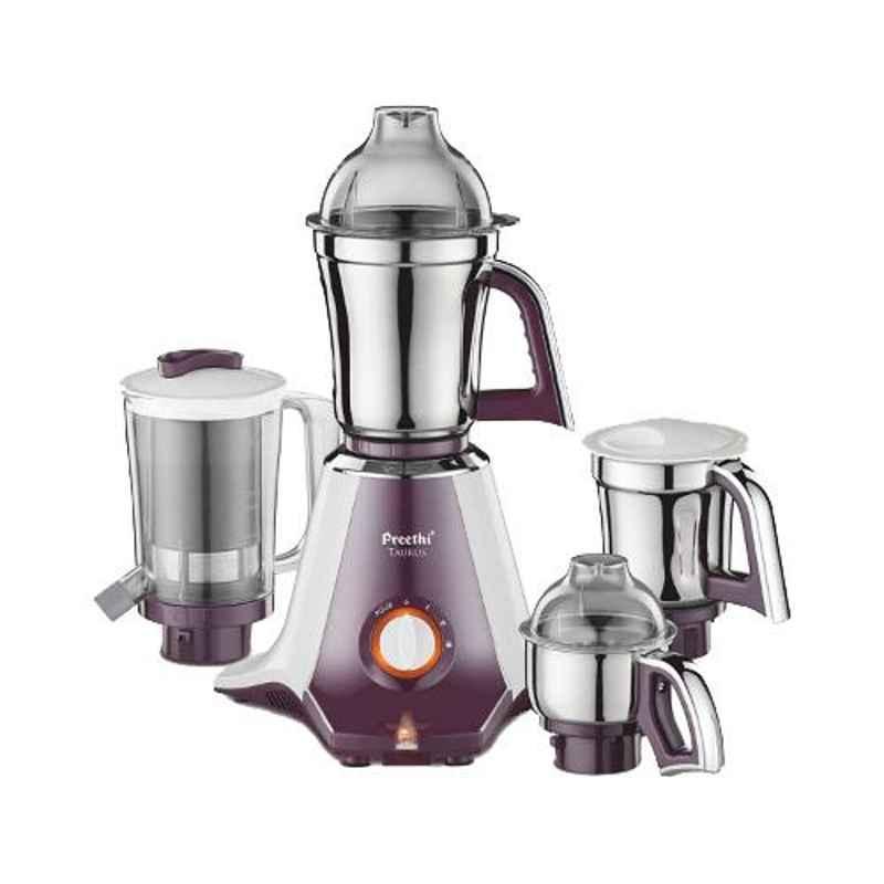 Preethi Taurus White & Dark Violet with 3 Jars 750W Mixer Grinder, MGA217