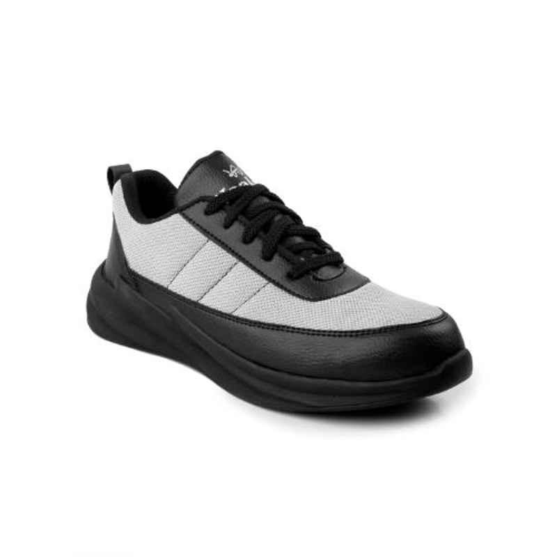 Woakers Synthetic Leather Steel Toe PVC Sole Grey & Black Safety Shoes, Size: 9