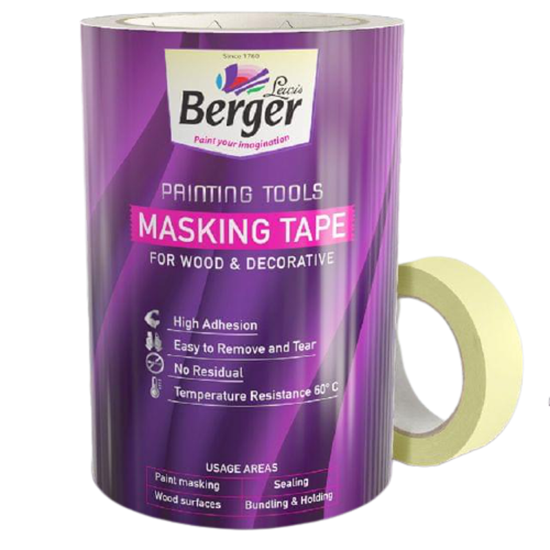 Berger 24mm Plastic Multi Masking Tape with High Adhesion for Multipurpose Application, F00MT00ZY6001000