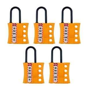 India Loto ILP040-5 6mm Yellow Nonconductive Slider Lockout Hasp (Pack of 5)