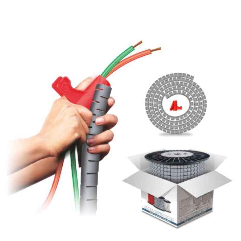 Noveau Safe-T-1ST 10mm 50m Virgin HDPE Metallic Silver Cable Zipper, NSFZ10MS0050