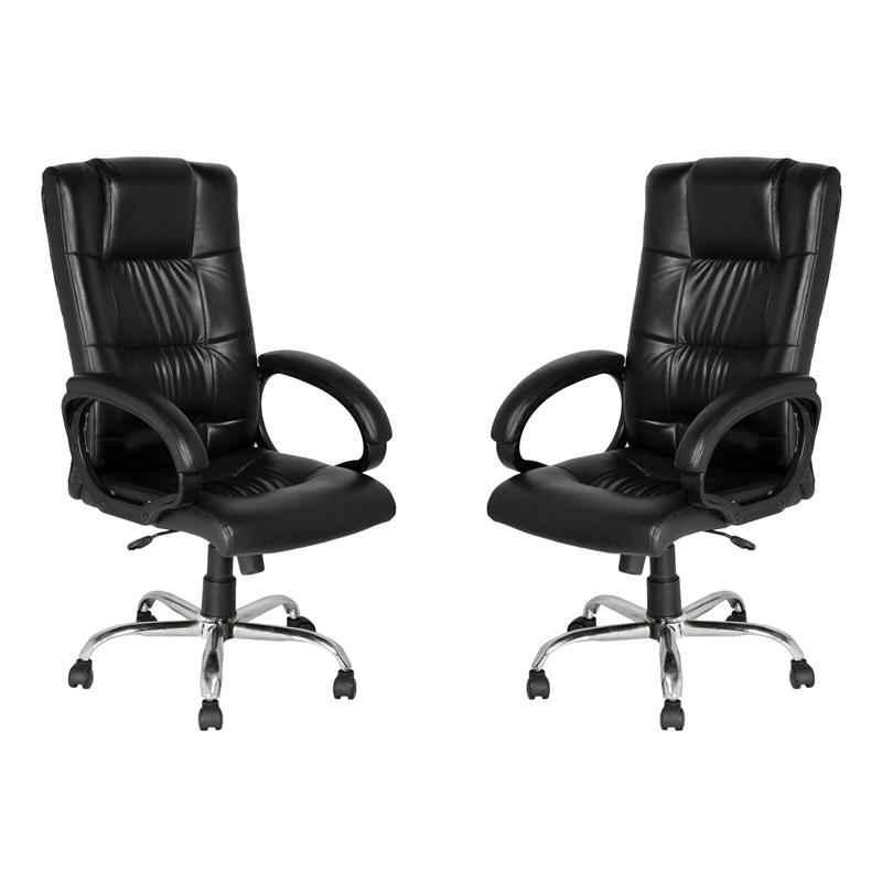 High Living Poseidon Leatherette High Back Black Office Chair (Pack of 2)