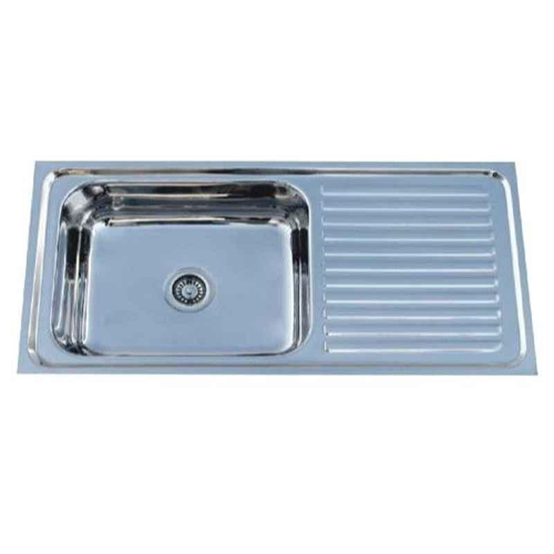 Crocodile 45x20x9 inch Glossy Finish Stainless Steel Single Bowl Kitchen Sink with Drainboard