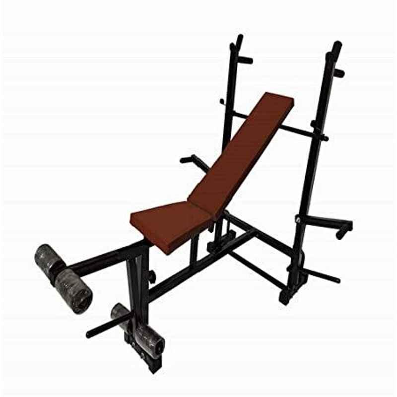 Facto Power Black Multipurpose Weight Lifting Bench, (Incline/Decline/Flat/Leg Exerciser/Lats Excerciser/Dips Stand/Push Up Stand)- 345kg Holding Capacity for Full Body Workout of Home Gym