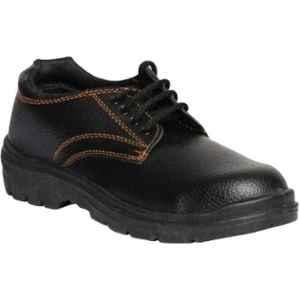 Paragon 706 Leather Steel Toe Black Safety Shoes, Size: 7
