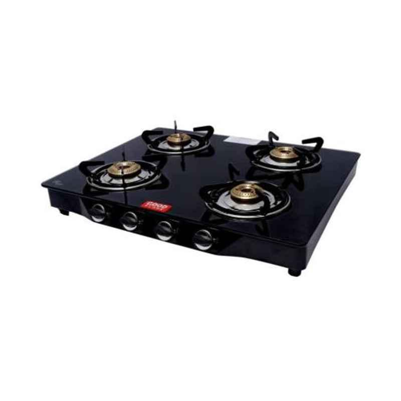 Good Flame Deluxe 4 Burners Manual Ignition Glass Gas Stove, GF061