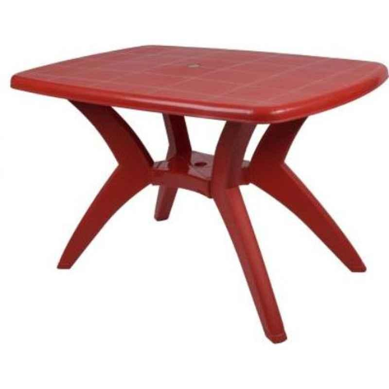 Supreme Melody Red Plastic & Polypropylene Rectangle Outdoor Table