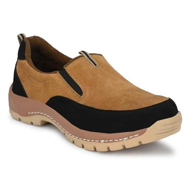 ArmaDuro AD1003 Suede Leather Steel Toe Tan Safety Shoes, Size: 9