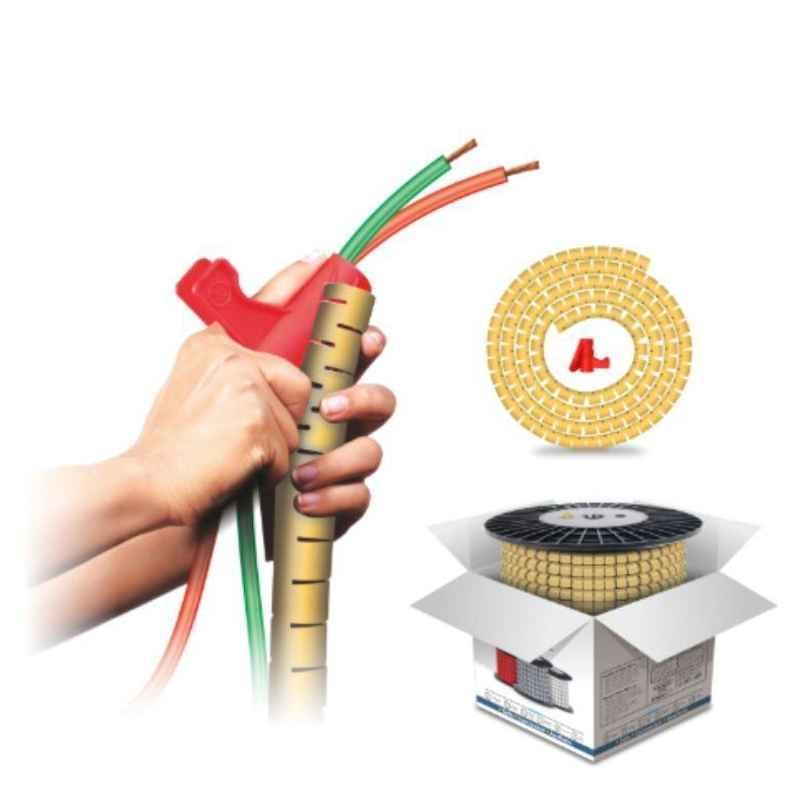 Noveau Safe-T-1ST 10mm 50m Virgin HDPE Metallic Gold Cable Zipper, NSFZ10MG0050