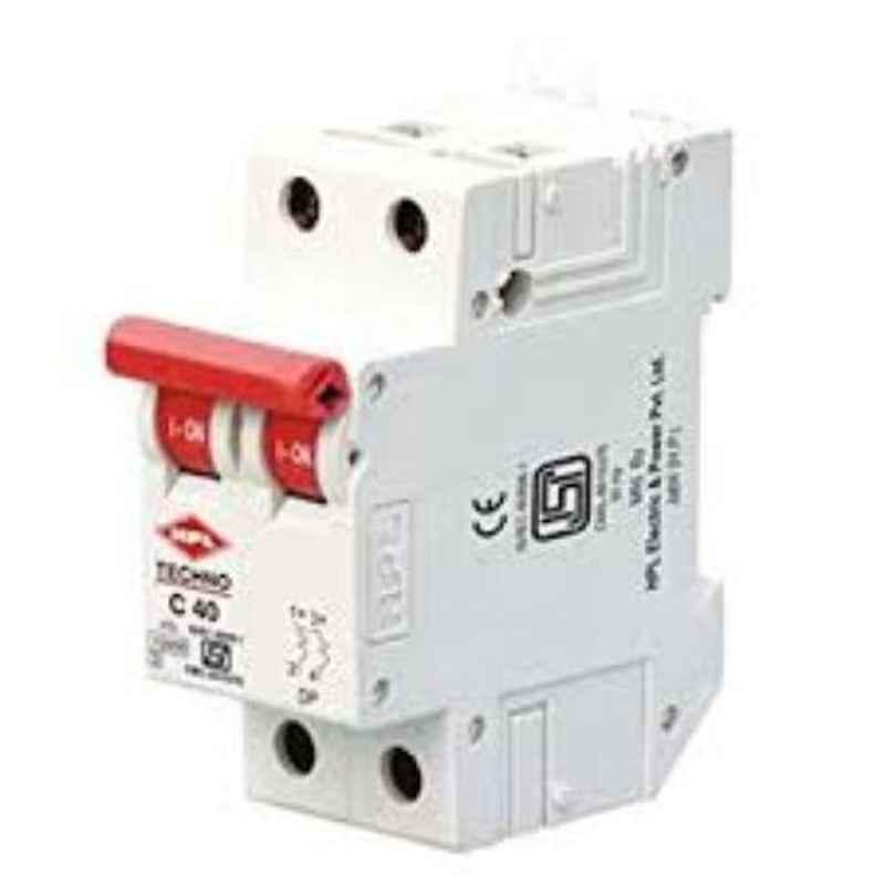 HPL 10kA 50-63A Double Pole C Curve Techno N MCB, NTDPC40