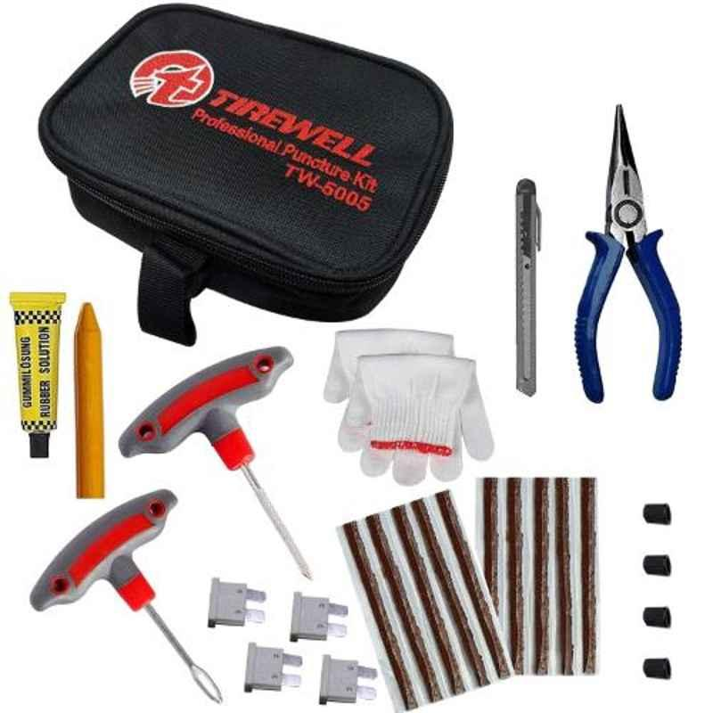 Tirewell TW-5005 10 in 1 Universal Flat Tubeless Tyre Puncture Repair Kit for Car & Bikes