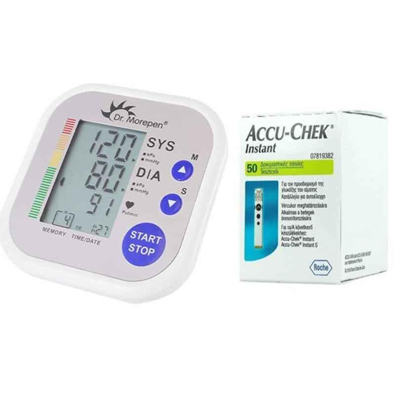 Dr. Morepen BP-02 Blood Pressure Monitor & Accu-Chek Instant 50 Test Strips