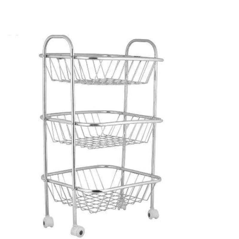 Osam Stainless Steel Silver Triple Shelf Multipurpose Basket, TFB