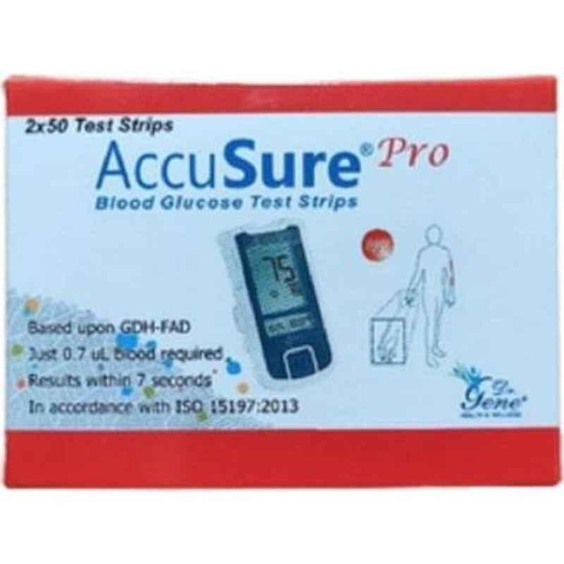Accusure Pro 100 Pcs Glucometer Test Strips