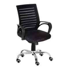 Da Urban Boom Black Fabric Cushioned Seat with Plain Medium Mesh Back Wheels Revolving Chair with Arms
