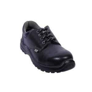 Coffer Safety CS-1012 Leather Steel Toe Black Safety Shoes, Size: 7